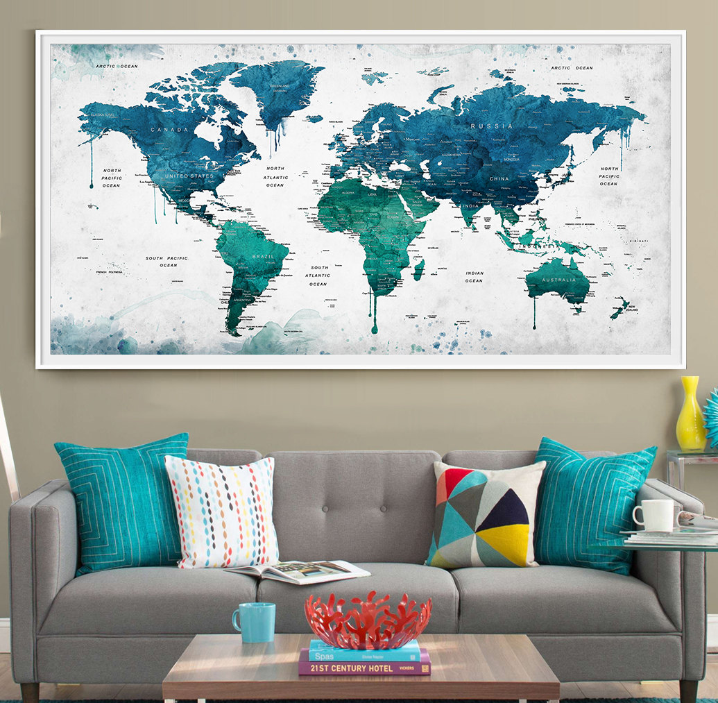 Large Map Of The World Poster.Extra Large Watercolor Push Pin Map Poster Print World Map Etsy