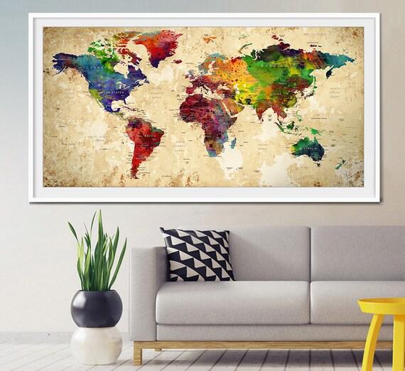 World map push pin Push Pin Travel Map Wall Art World Map