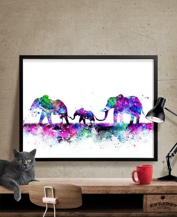 Elefante familia imprimir acuarela vivero arte grabado | Etsy