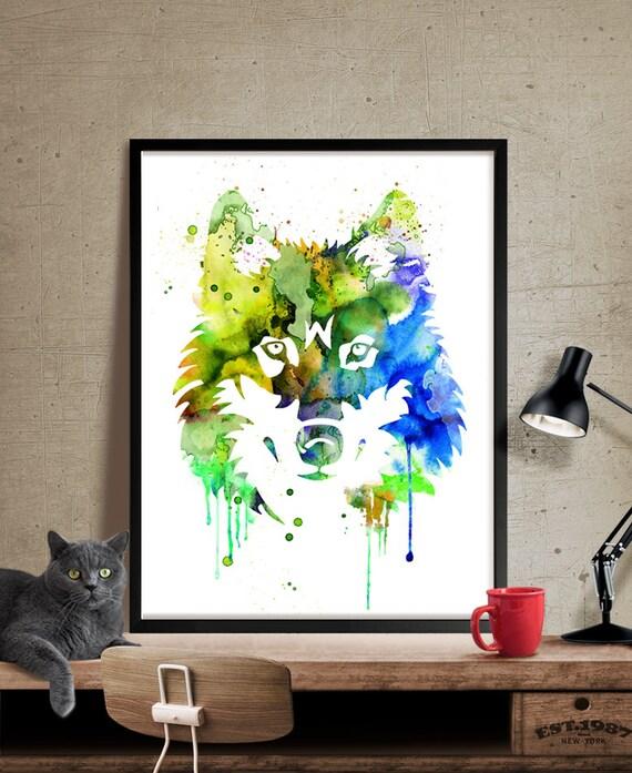 Pintura abstracta grande lobo acuarela impresión del arte   Etsy