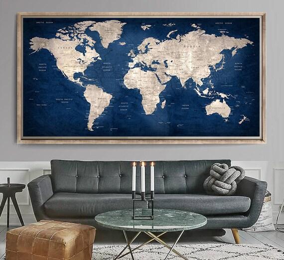 Large World Map, World Map Art Print, World Map Wall Art, World Map Poster  (L152)