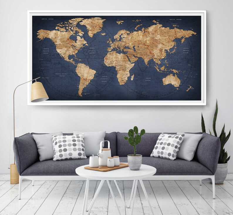Decorative World Map Poster.World Map Push Pin Large World Map Abstract World Map Etsy