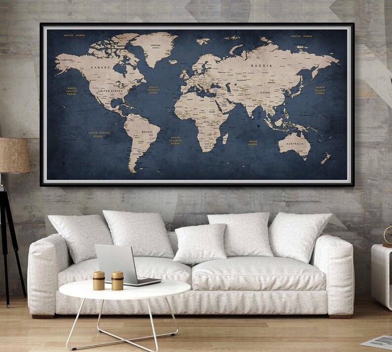Navy blue wall art prints extra large wall art world map push image 0
