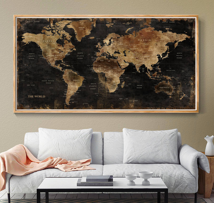 monde carte murale art univers vintage carte affiche monde. Black Bedroom Furniture Sets. Home Design Ideas