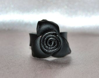 Leather Ring with rose