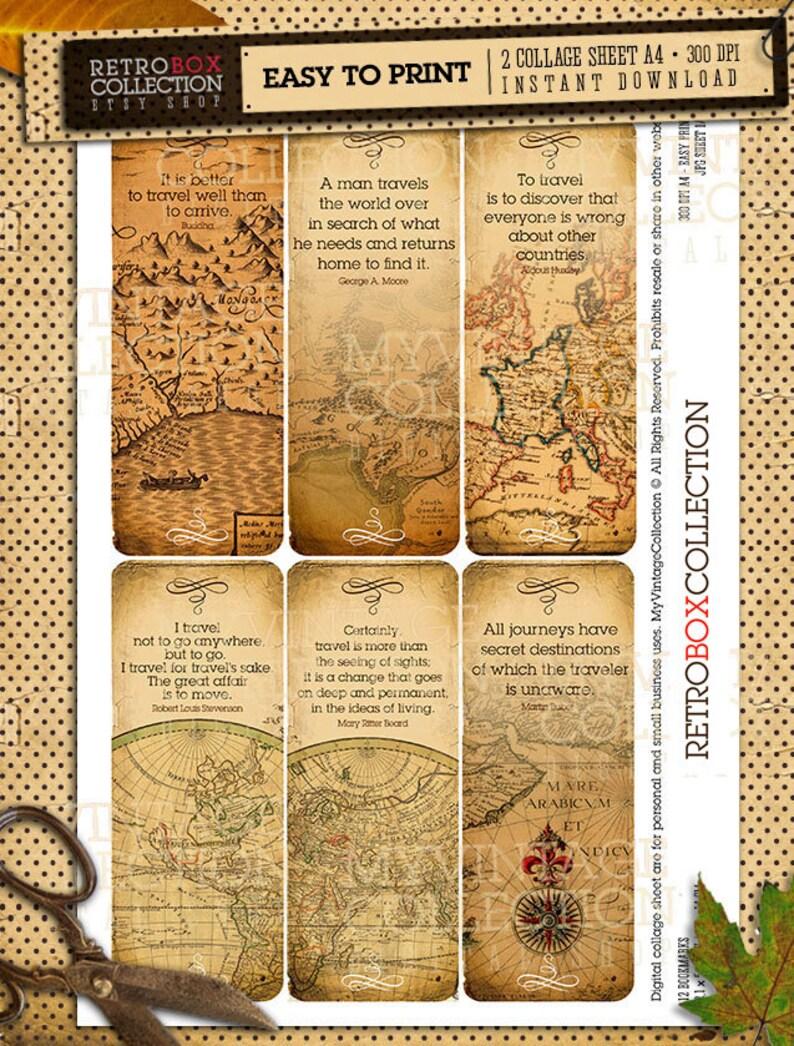 reise zitate karten lesezeichen vintage 12 lesezeichen | etsy