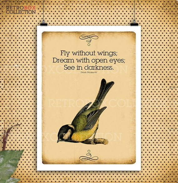 Fly Quotes Birds Flying Print Vintage Letter Paper A60 60dpi Etsy Awesome Quotes About Birds