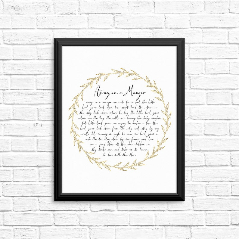 photograph relating to Lyrics to Away in a Manger Printable named Gold Absent within just a Manger Wall Artwork / Very simple Xmas Artwork / Absent within just a Manger Print / Christian Xmas Carol Print / Absent inside a Manger Lyrics