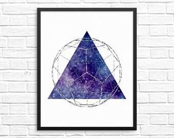 Triangle Art / Geometric Printable Wall Art / Purple Wall Decor / Galaxy Wall Art / Geometric Decor / Dorm Room Print / Modern Art Print