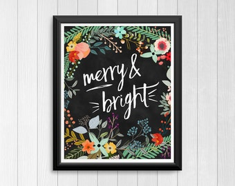 Floral Christmas Art / Merry and Bright Wall Art / Floral Christmas Printable Art / Christmas Print / Floral Merry and Bright Print