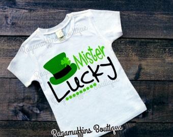 Mister Lucky, Saint Patricks day shirt, Saint Patty's day, St Patricks day shirt, boys pinch proof shirt, boys Saint Patricks day shirt