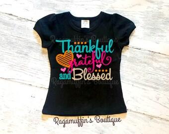 Thankful grateful blessed shirt, thankful shirt, grateful shirt, blessed shirt, thanksgiving shirt, fall shirt, girls thanksgiving shirt