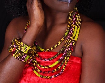 Lemon fantasy, a set of Hand made African accessories. Chunk bangles, necklace, and a pair of earrings. A must have Free shipping