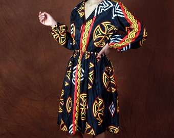 Adorable Toghu print dress with sleeves - PHEN