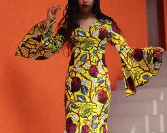 Tziki, African woman print Maxi  gown, floor length