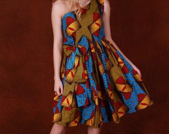 Elegant one shoulder African print Midi dress