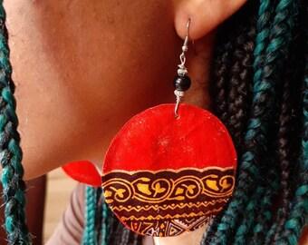 Fashionable  dangling African Ankara print earring