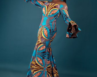 African print Marmaid silhoutte dress with designer arms