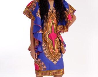 African Dashiki Butturfly blue print dress