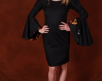 Stylish midi sheath African dress with Extravegant trumpet arms