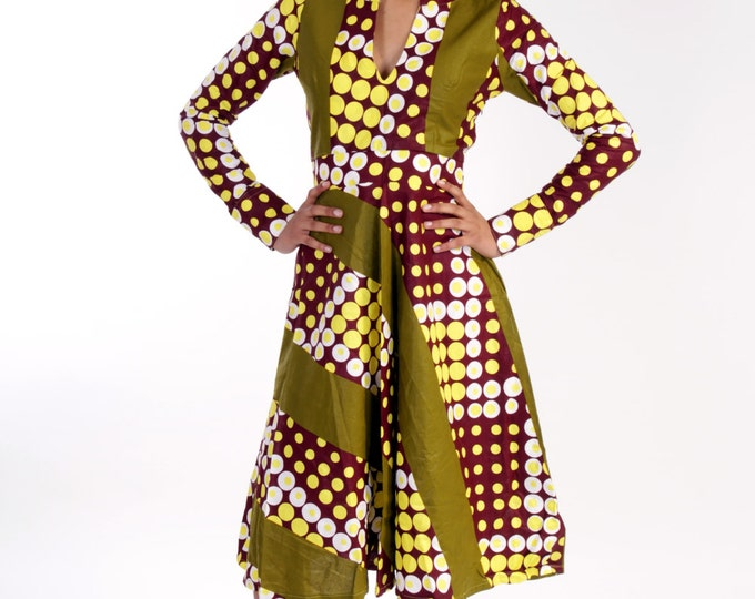 Featured listing image: Therra - grean African doted printed  dress