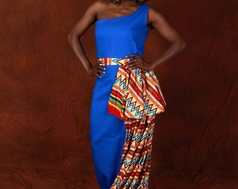 Pretty eccentric, Glamorous,one sided maxi African gown