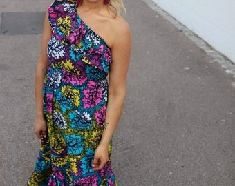 Florial vibrant African Print one shoulder raffle Maxi Dress. Ankara, 100% cotton. Modern African fashionable dress.