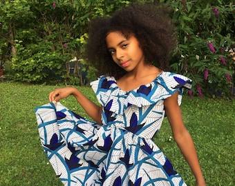 Blooming  African  print girls Ankara blue dress.