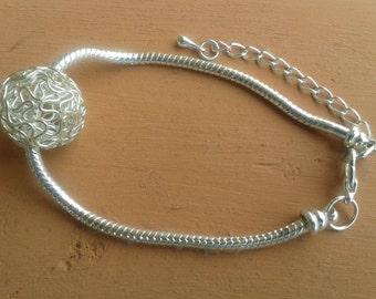 "Silver plaited ""My world bracelet"""
