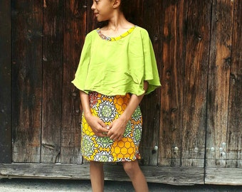 Aimee, adorable african print girls dress