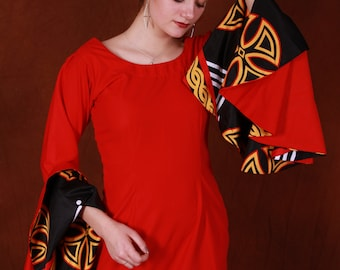 Stunning African Red Bodycon Dress with exagerated sleeves, Redlusious