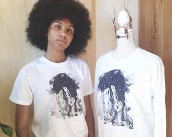 Kehdinga Unisex T-shirts for all ages. Afro black and white image.