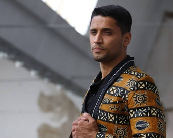 Masculine classic african fabric coat signature style