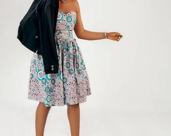 Elegant ankara cocktail African print dress - Sidonie