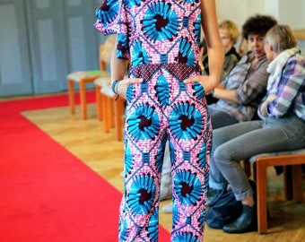 Helii - Floral African Ankara Print overall for women