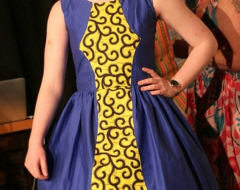 Mbole, Cute, elegant, african cotton dress with gathers.