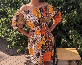 Aika - Beautiful Unique African cotton print midi Dress. Off shoulder. Boho, street wear.