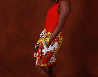 Langmia - African print, Ankara women shorts with a side bow