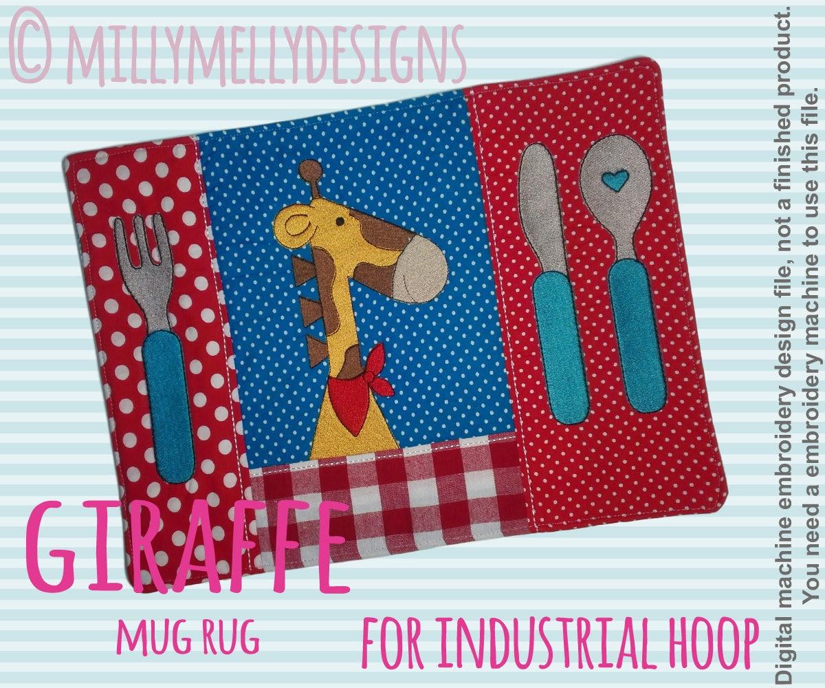Giraffe Mug Rug For Industrial Hoop In The Hoop Machine