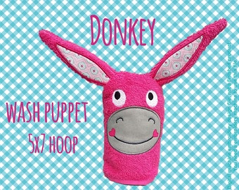 Wash Puppet - DONKEY - ITH - In The Hoop - Machine Embroidery Design File, digital download