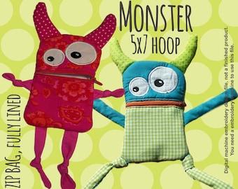 Monster zip bag - wallet - 5x7 hoop - ITH - machine embroidery design file - digital download