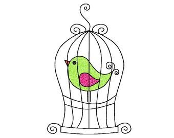 5x7 hoop BIRD in CAGE Machine Embroidery Design File, digital download