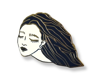 """GHOST LADY Gold Black and White Enamel Pin 1.5"""""""
