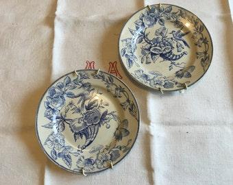 Choisy le roi, collection plate, blue and white plate, cornucopia