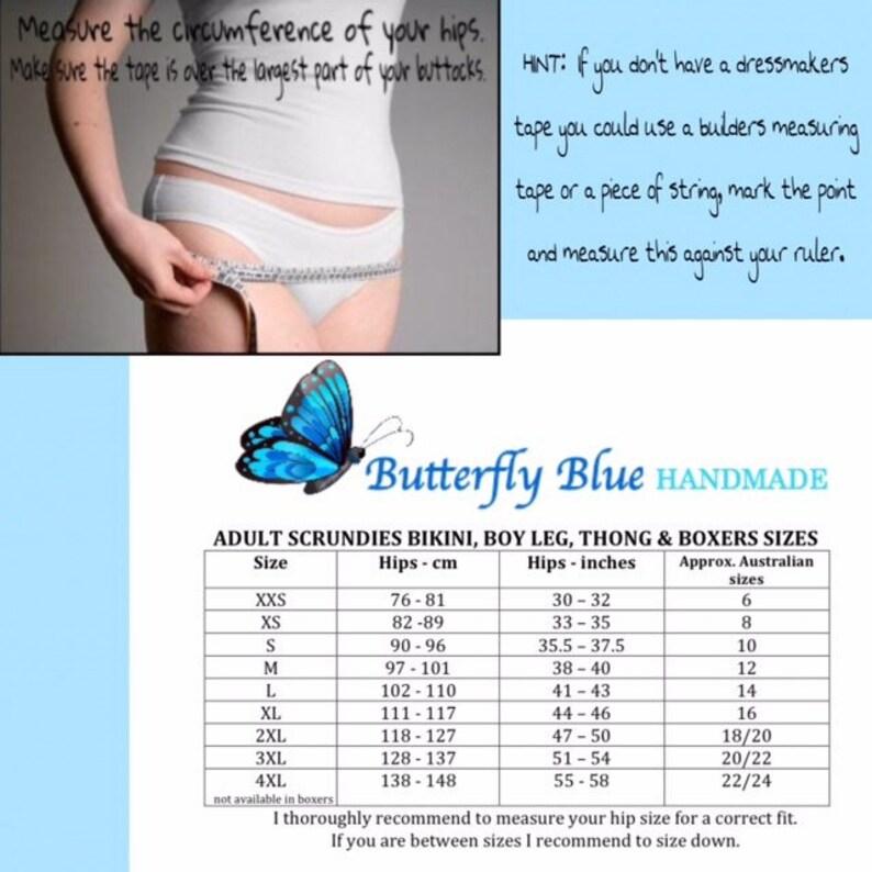 Scrundies Ladies custom made panties Thong /& Boxerwear in all sizes. Jelly bean fabric Bunzies