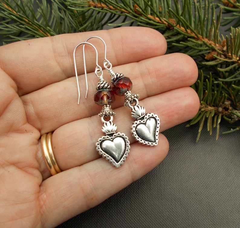 SALE Religious Folk Art Style Gifts for Women Long Red Czech Glass and Gold Dangles Gold or Silver Milagro Sacred Heart Earrings