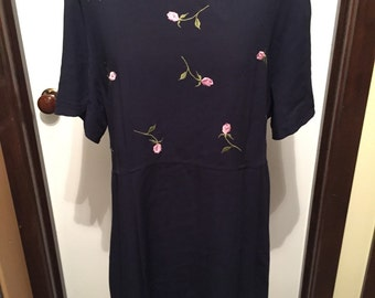 90s Navy Floral Dress With Lace Trimming
