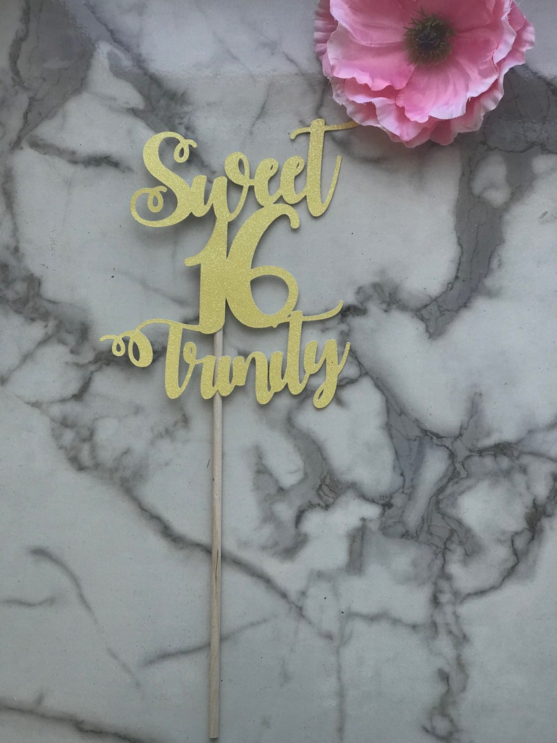 Sweet 16 Party Decorations Floral Pick Sweet 16 Personalized Centerpiece