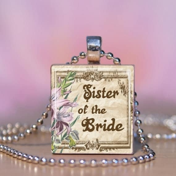 Handmade Wedding Matron of Honor Shower Party Gift Wooden Scrabble Pendant Necklace Charm