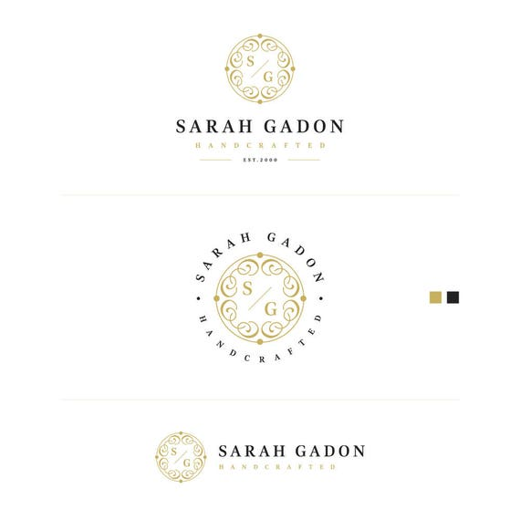 Gold Business Logo, Artist Logo Design, Elegant Logo, Classic Logo, Branding Kit, Watermark on Photos, Business Stamp Logo, Initial logo